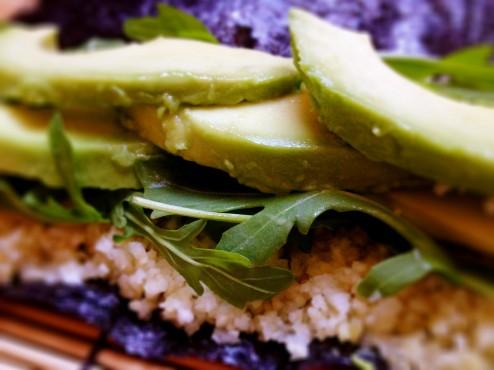 arugula avocado sushi rolls